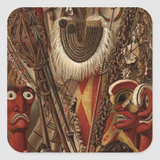Polynesian Weapons and Costume Square Stickers