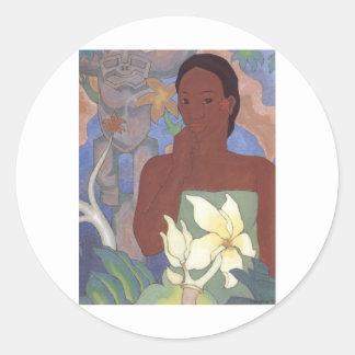 Polynesian Woman and Tiki by Arman Manookian, 1929 Round Sticker