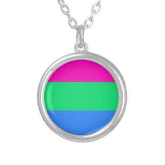 Polysexual pride flag silver plated necklace