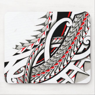 polytat tribal tatau spearhead red warrior symbols mouse pad