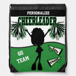 Pom Pom Cheerleader | Green White Black Drawstring Bag