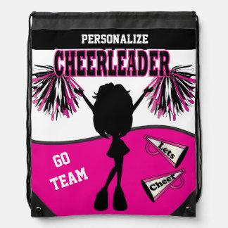 Pom Pom Cheerleader | Hot Pink White Black Drawstring Bag