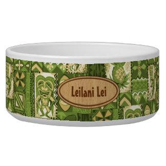 Pomaika'i Tiki Hawaiian Vintage Tapa Dog Water Bowls