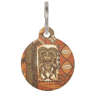 Pomaika'i Tiki Hawaiian Vintage Tapa Pet Tag