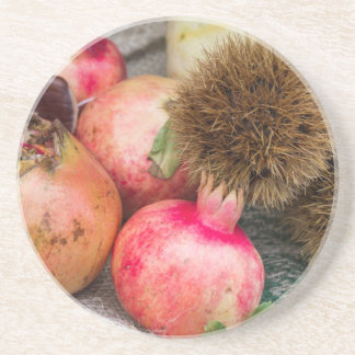 pomegranate and curly chestnut drink coaster