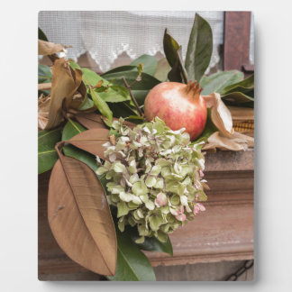 pomegranate and dried  hydrangea plaque