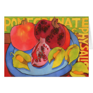 Pomegranate and Physalis Greetings Card