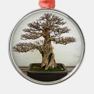 Pomegranate Bonsai Tree Silver-Colored Round Decoration