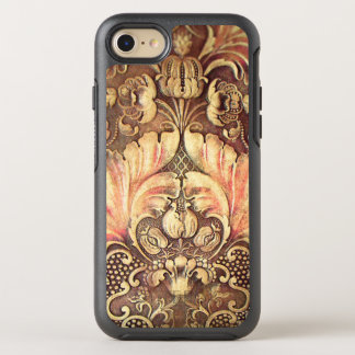Pomegranate Flower Wood Carving Burnished Tan OtterBox Symmetry iPhone 7 Case