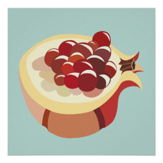 Pomegranate fruit illustration poster