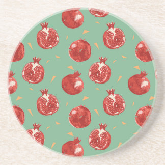 Pomegranate Fruit Vector Seamless Pattern Coaster