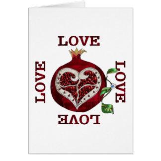 Pomegranate Heart LOVE Valentine Card