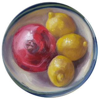 Pomegranate & Lemons Porcelain Plate