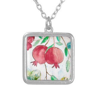 Pomegranate painting pomegranate art Wall art Silver Plated Necklace
