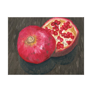 Pomegranate Sliced Oil Painting Stretched Canvas Print