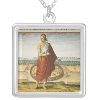 Pomeiooc Elder in a winter garment Silver Plated Necklace