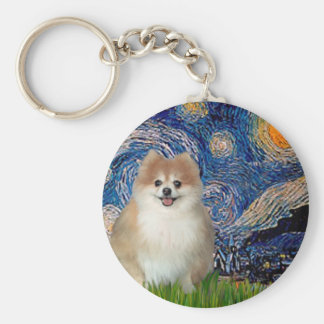 Pomeranian 1 - Starry Night Key Ring