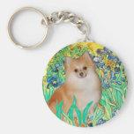 Pomeranian 3 - Irises Basic Round Button Key Ring