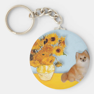 Pomeranian 3 - Sunflowers Basic Round Button Key Ring