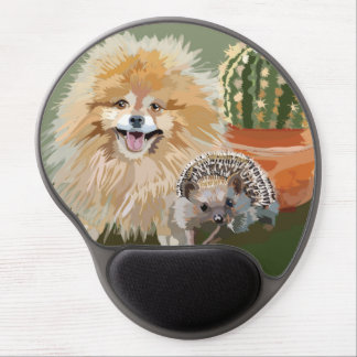 Pomeranian and Hedgehog Mousepad Round Gel Mouse Pad