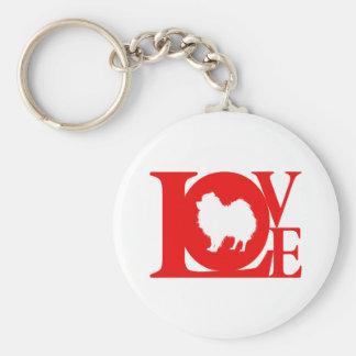 Pomeranian Basic Round Button Key Ring