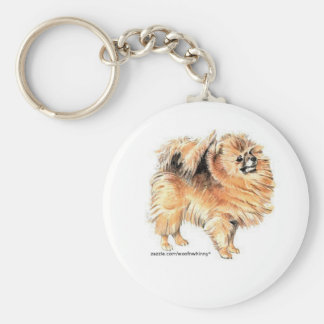 Pomeranian! Basic Round Button Key Ring