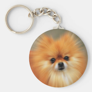 Pomeranian Basic Round Button Key Ring