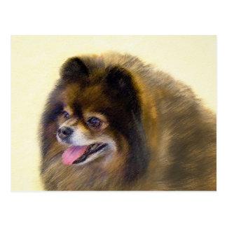 Pomeranian Black and Tan Painting Original Dog Art Postcard