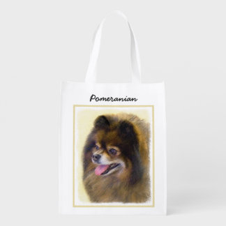 Pomeranian Black and Tan Painting Original Dog Art Reusable Grocery Bag