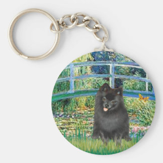 Pomeranian (black) - Bridge Basic Round Button Key Ring