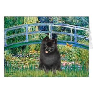 Pomeranian (black) - Bridge Greeting Card
