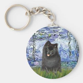 Pomeranian (black) - Lilies 6 Basic Round Button Key Ring