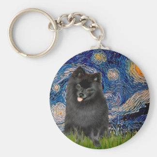 Pomeranian (black) - Starry Night Basic Round Button Key Ring