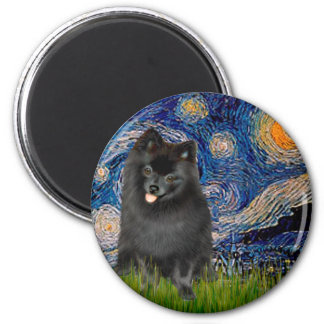 Pomeranian (black) - Starry Night Magnet