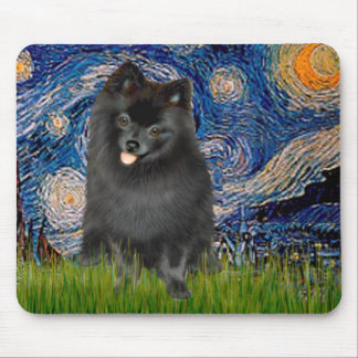 Pomeranian (black) - Starry Night Mouse Mat