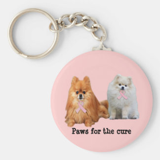 Pomeranian Breast Cancer Keychain