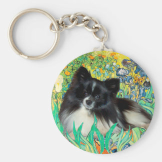 Pomeranian (BW) - Irises Key Chain
