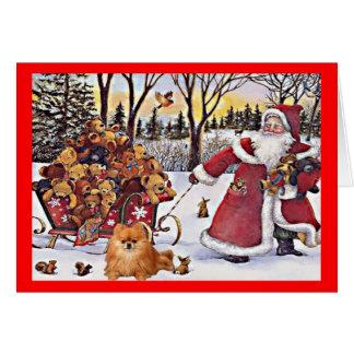 Pomeranian Christmas Card Santa and Bears