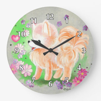 Pomeranian Cute Puppy Dog Clocks