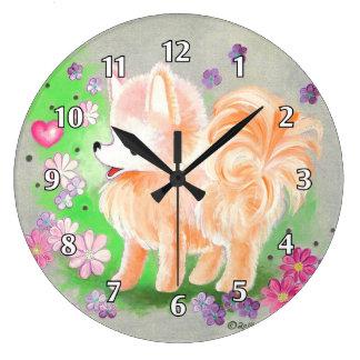 Pomeranian Cute Puppy Dog Large Clock