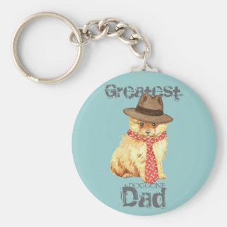 Pomeranian Dad Basic Round Button Keychain