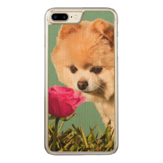 Pomeranian Dog and Rose Carved iPhone 8 Plus/7 Plus Case