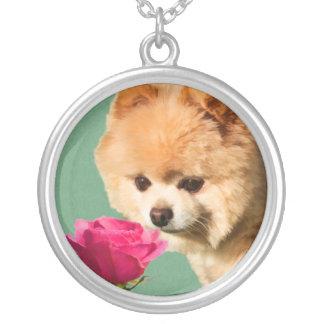 Pomeranian Dog and Rose Necklace
