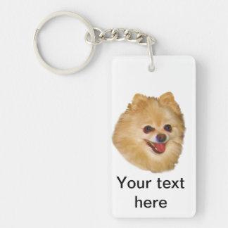 Pomeranian Dog Customizable Double-Sided Rectangular Acrylic Key Ring