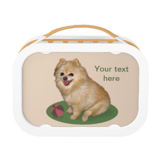 Pomeranian Dog Customizable Text Lunchbox