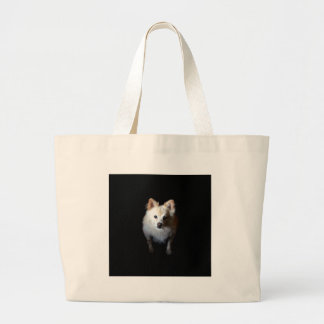 Pomeranian Dog in Dark Large Tote Bag