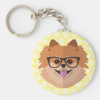 Pomeranian Dog In Nerd Glasses | Cute Hipster Gift Basic Round Button Key Ring