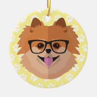 Pomeranian Dog In Nerd Glasses | Cute Hipster Gift Christmas Ornament