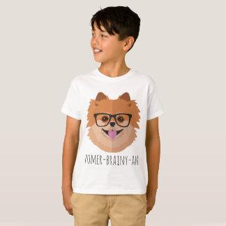 Pomeranian Dog In Nerd Glasses   POMER-BRAINY-AN T-Shirt