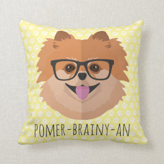Pomeranian Dog In Nerd Glasses | POMER-BRAINY-AN Throw Pillow